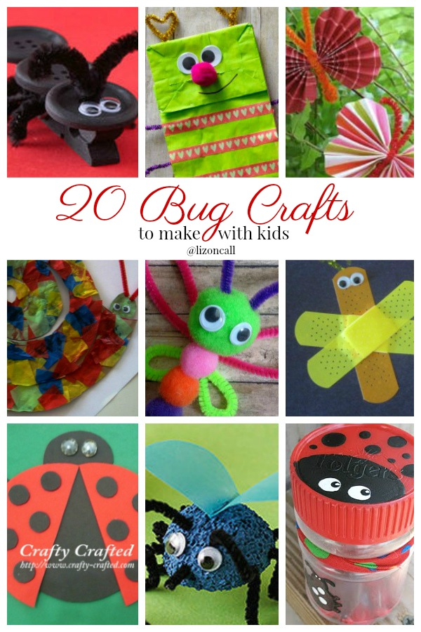 Beat the summer boredum with these 20 bug crafts to make with kids.