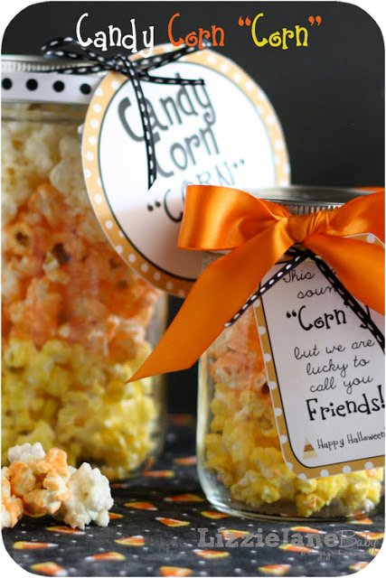 flavored popcorn colored and stacked to look like candy corn - super cute and super simple