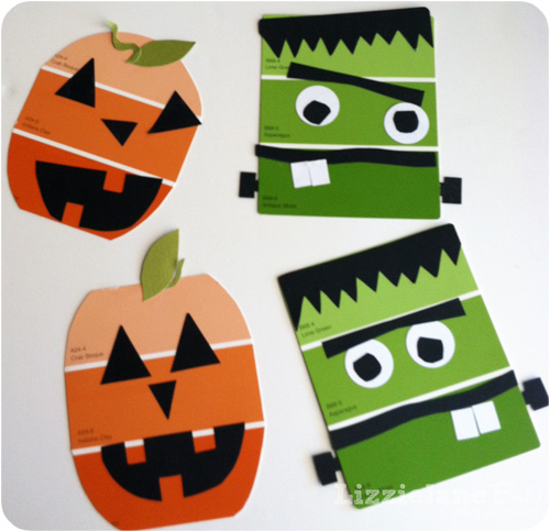 Paint Chip Halloween Kid Craft #kidcrafts #paintchip #halloween (lizoncall.com)