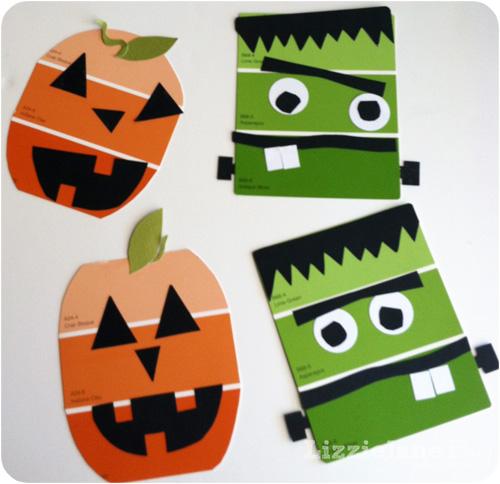 Paint Chip Halloween Kid Craft #kidcrafts #paintchip #halloween (lizoncall.com)