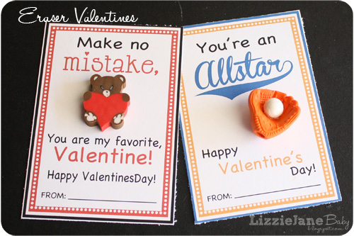 Free printable Valentine's cards. Fun non candy gift for kids to pass out at school. Just add a cute eraser. - lizoncall.com