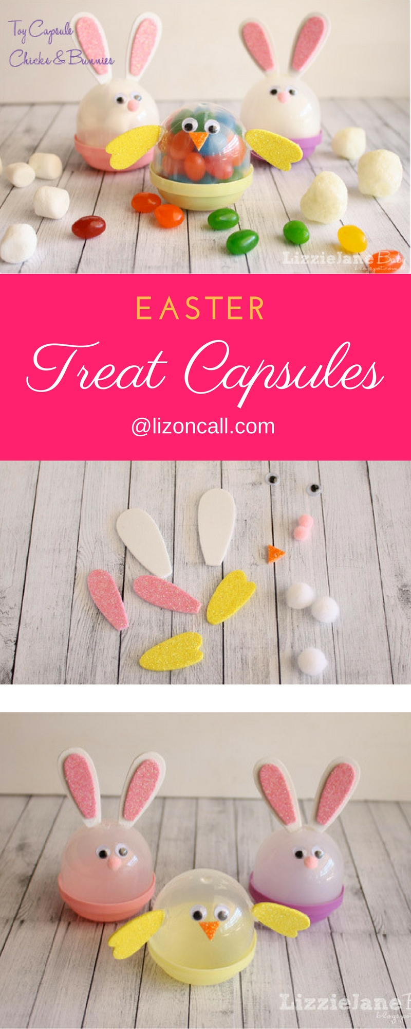 These toy capsule Easter characters are a fun activity to make with the kids.