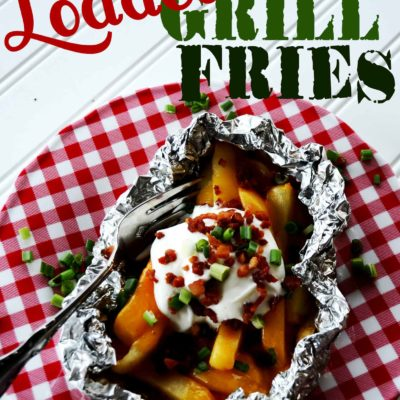 Guest Post – Loaded Grill Fries with Pink Cake Plate