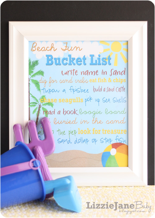 printable beach fun bucket list to keep your family active and create memories together on your next beach vacation.