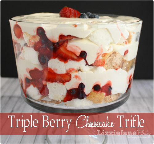 Triple berry cheesecake trifle . Cheesecake goodness, berries and cake in this no bake dessert. Great for summer pot lucks. - lizoncall.com