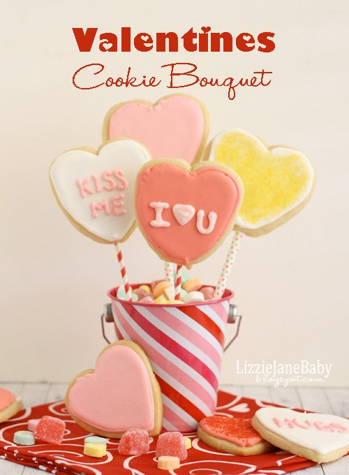 This sugar cookie bouquet is a fun edible gift for your loved ones this Valentine's Day