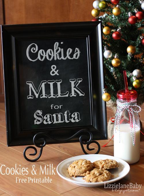 Cookies & Milk free printable to set out for Santa on Christmas eve
