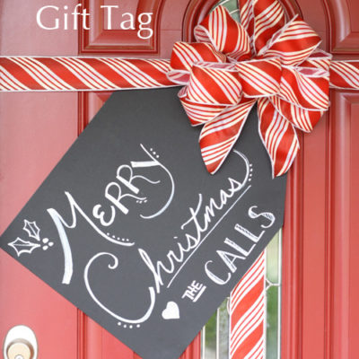 Gift Wrapped Front Door – with Tag