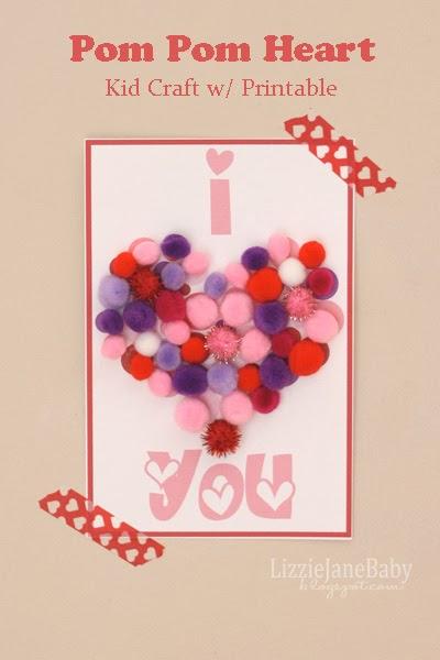 free printable pom pom heart kid craft