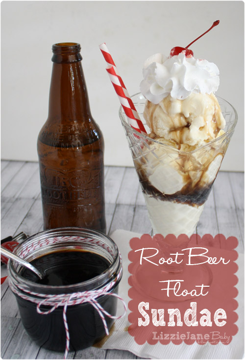 Root Beer Float sundae with homemade root beer syrup #rootbeerfloat (lizoncall.com)