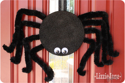 Make a big spider for your front door. Ditch the typical wreath and get the tutorial.
