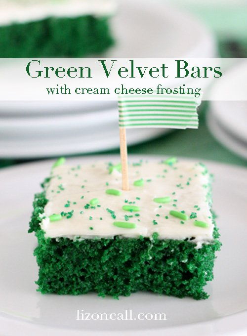 Green Velvet Cake Bars perfect St. Patrick's Day dessert