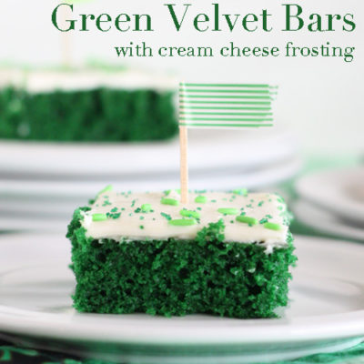 Green Velvet Cake Bars with Cream Cheese Frosting