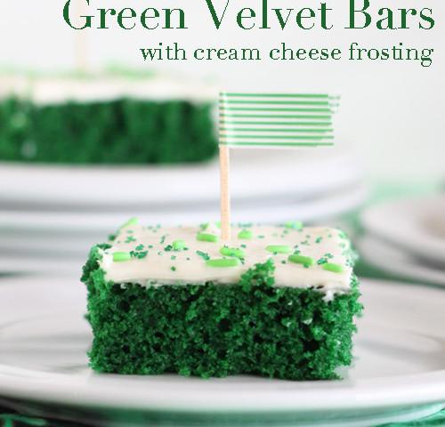 Green Velvet Cake Bars with Cream Cheese Frosting