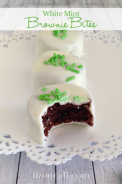 Mint brownie bites are easy, cute and delicious too.  Perfect for a St. Patrick's Day party!