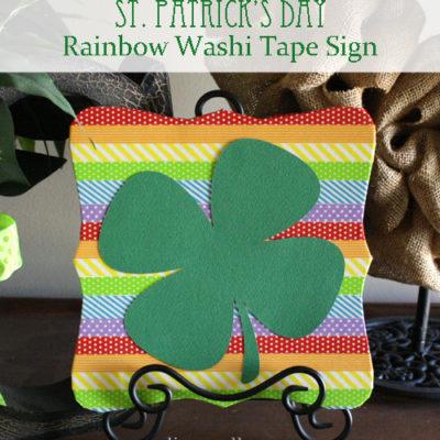 St. Patrick's Rainbow Washi Tape Sign