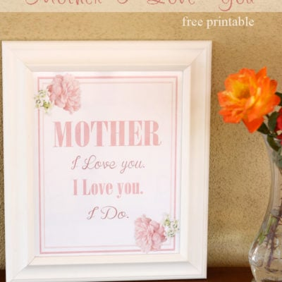 Mother I Love You Printable