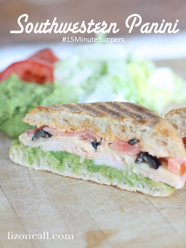 southwestern panini sandwich with guacamole #15MinuteSuppers