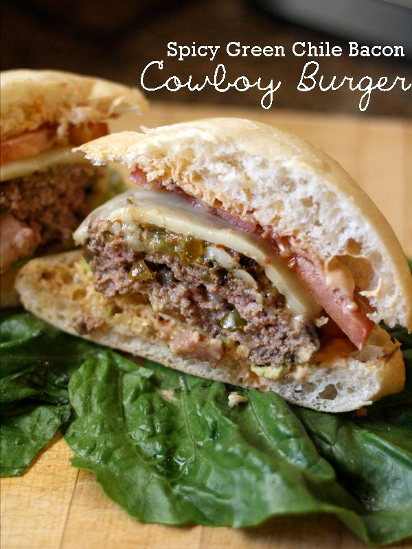 Spicy Green Chile Bacon Cowboy Burger