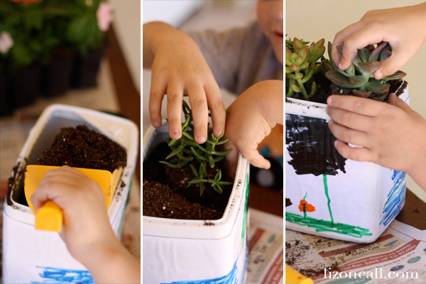 kid friendly project - recycled plastic container planters