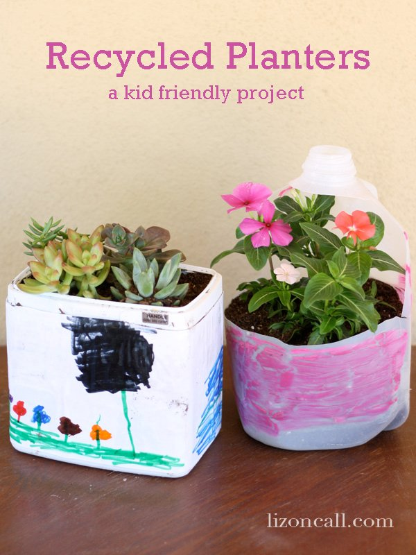 #recycle #plastic containers into planters - great #kidcraft
