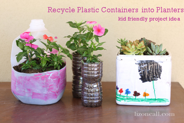 recycle plastic containers into planters - a fun activity to make with the kids #recycle #spring #plant #kidcraft