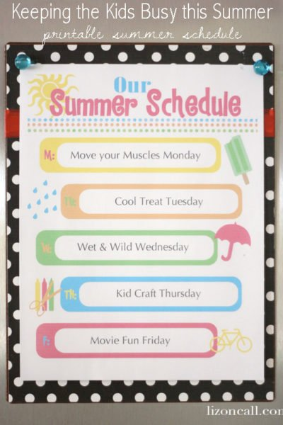 Summer Schedule: How to Keep Kids Busy: Free Printable Summer Schedule