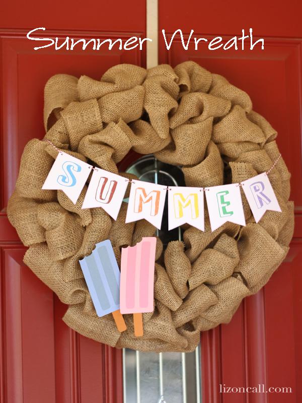 Summer wreath with mini printable banner #summer #wreath