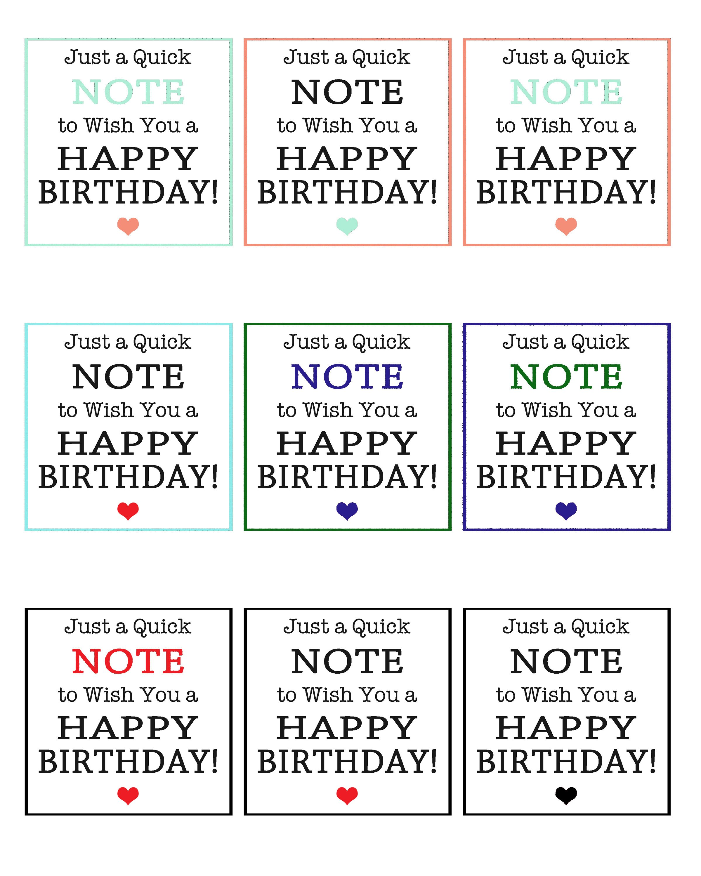 Quick Note Birthday Gift Tags
