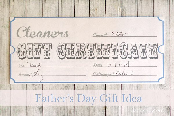 Simple gift for dad for father's day.  Printable gift certificate to the dry cleaner. #fathersday #free #printable