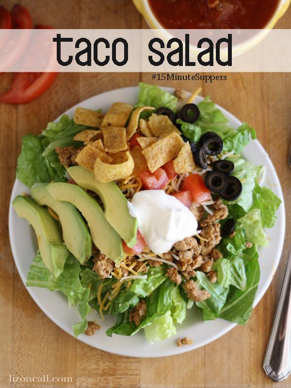 quick and easy taco salad #salad #taco #15minutesuppers (lizoncall.com