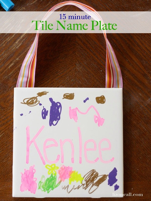 15 minute tile name plate - #camp #craft #kidcrafts - lizoncall.com