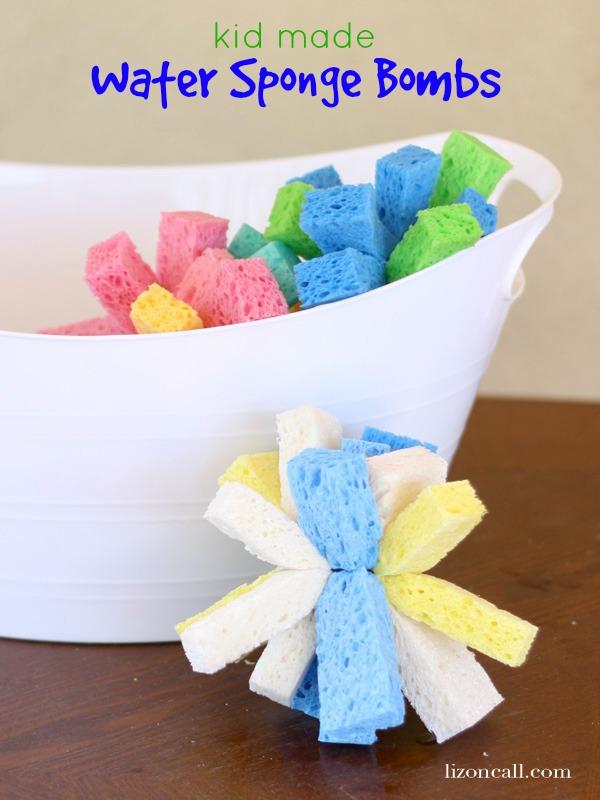 kid made water sponge bombs - super easy tutorial - Liz on Call