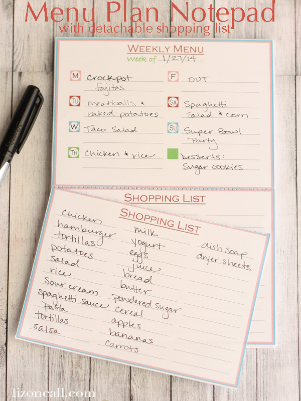 weekly menu notepad printable and tutorial - Liz on Call #menuplan #menu
