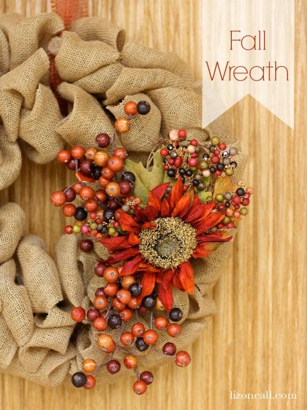 Update a plain burlap wreath for fall. Easy Fall Wreath - Liz on Call