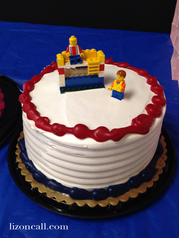 Joint Birthday party at Great Play of Chandler - Lego birthday cake with kid made double decker couch for decorations