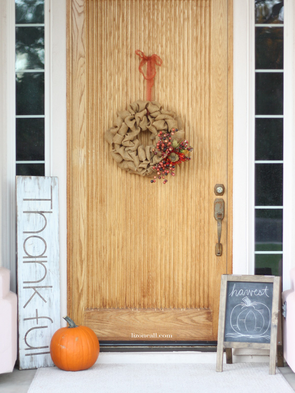 Reversible holiday porch sign you can use for both Thanksgiving and Christmas.