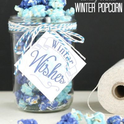 Winter Candy Coated Popcorn