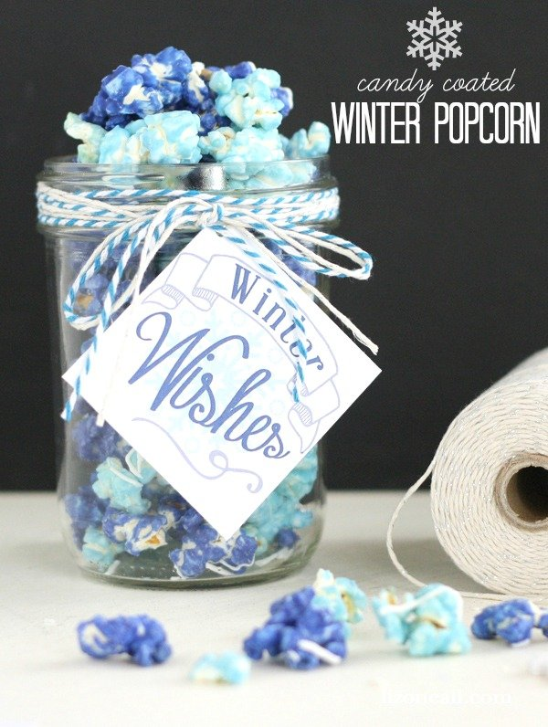 This candy coated popcorn makes a great gift for neighbors and teachers.  And it is really easy to make!  Only 2 ingredients.
