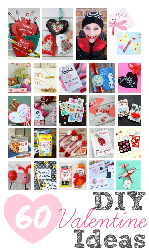 60 DIY Valentine Ideas including many candy free valentines for kids!