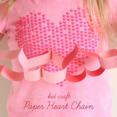 Paper Heart Chain kid craft