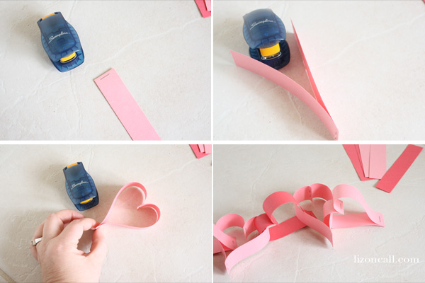 This paper heart chain is an easy kid craft perfect for Valentine's Day. - lizoncall.com