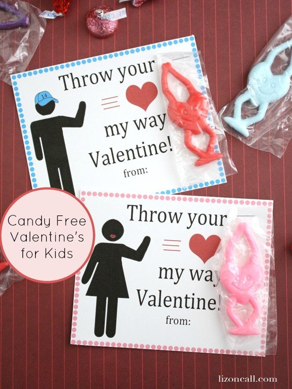 Candy free valentines free printables. Perfect for kids to pass out to their friends at school. We attached these stretchy fling hearts - lizoncall.com