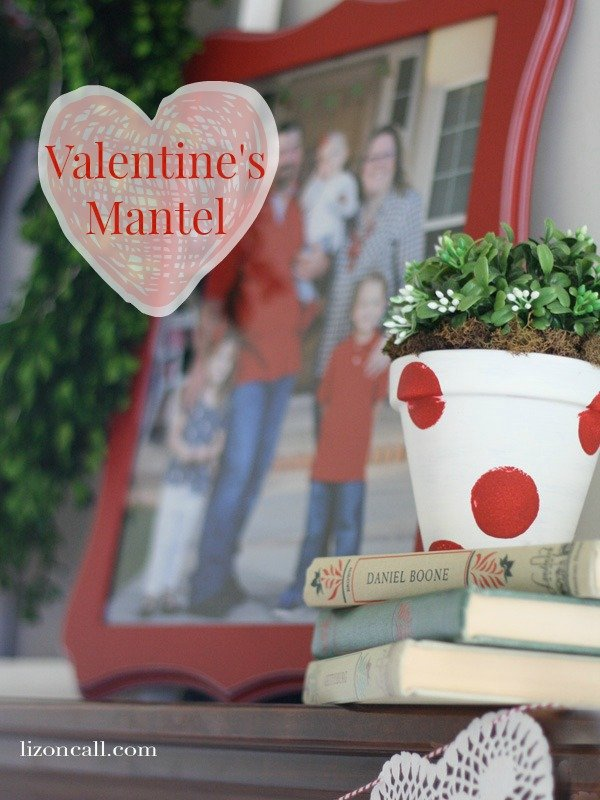 Simply change your Christmas mantel into a Valentine's Day mantel. - lizoncall.com