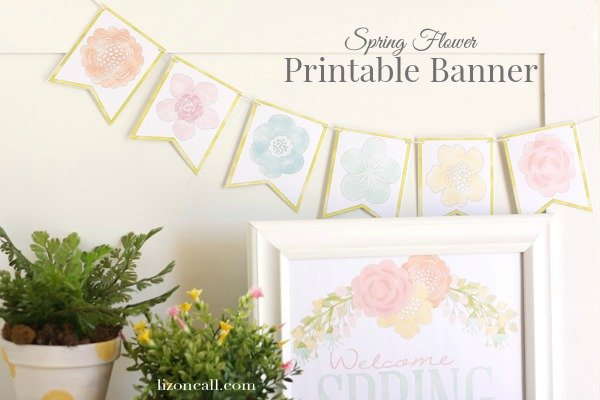 Free spring printable banner liz on call free printable spring flower banner lizoncall mightylinksfo