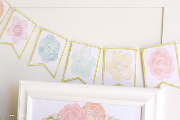 Free printable spring flower banner - lizoncall.com