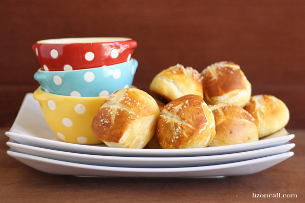 Soft and buttery pretzel bites recipe.  Perfect for an appetizer or even dinner - lizoncall.com