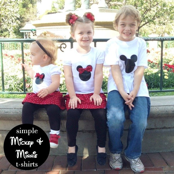 Easy Mickey Mouse and Minnie Mouse t-shirt tutorial using iron on vinyl