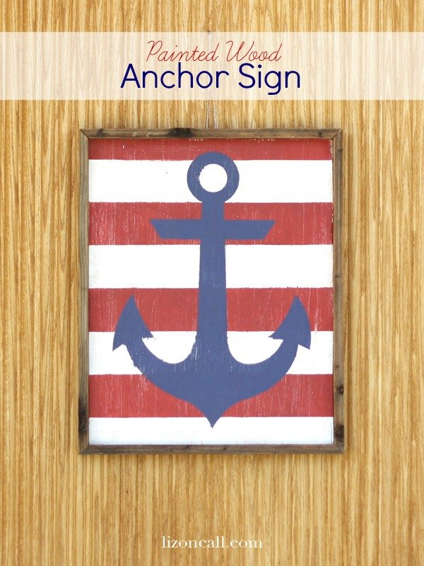 Hand painted nautical anchor sign hung on the front door. A perfect decoration for summertime.