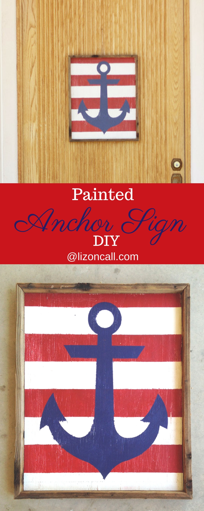 DIY painted anchor sign, nautical sign